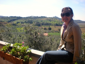 On the terrace in Satta's home, overlooking the beautiful Tuscan landscape.