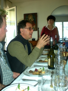 After a winery tour, we have lunch in the Satta residence with Michele and his wife.